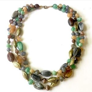 Colorful beaded necklace green purple